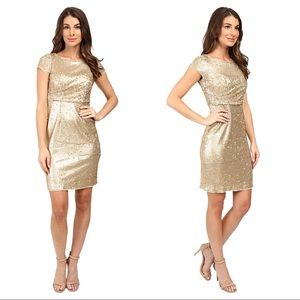 Adrianna Papell Gold Sequin Draped Cocktail Dress